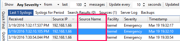 Source Name column is blank : Syslog Watcher Support