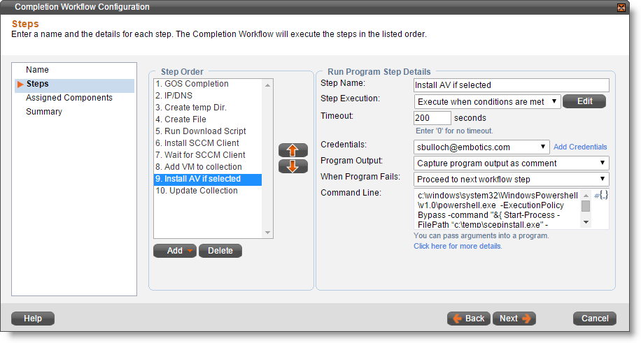 Using Completion Workflows to Integrate with System Center