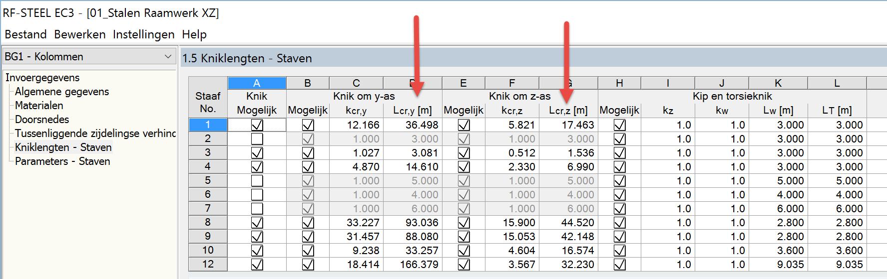 Kniklengtes importeren in RF-STEEL EC3