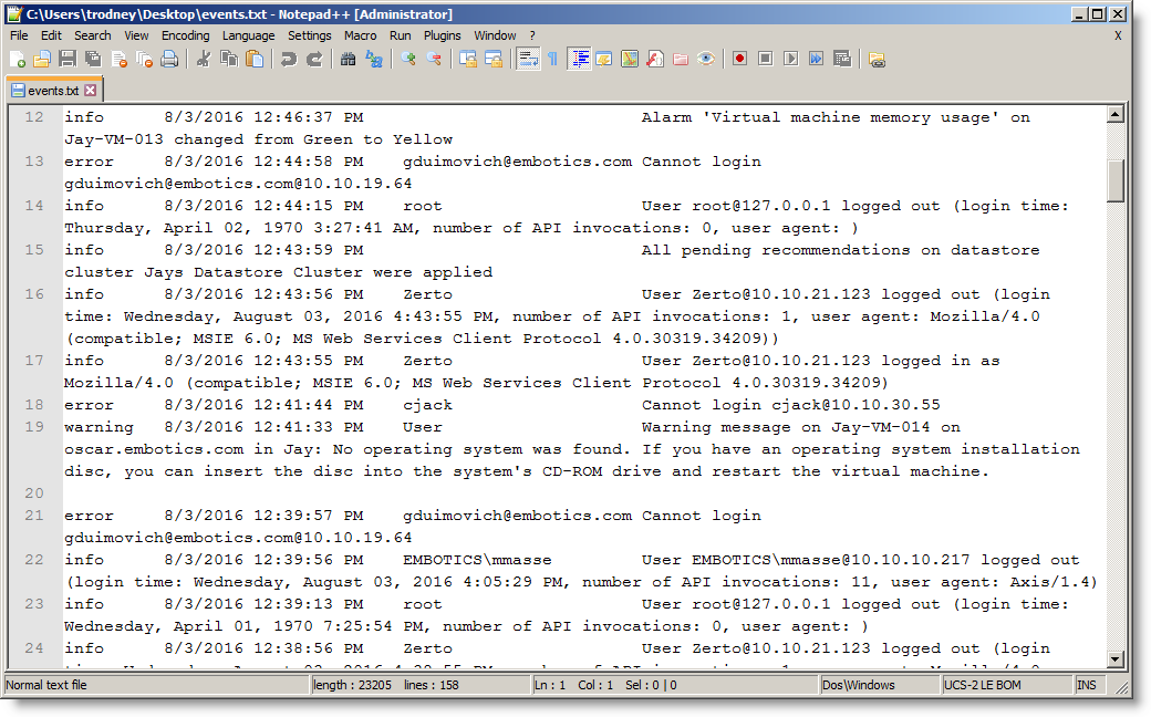Exporting vCenter System Events :