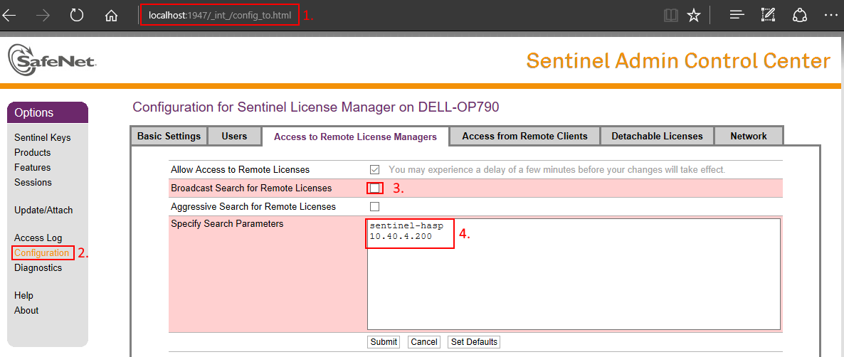 How to reach a Sentinel HASP License Manager from a client