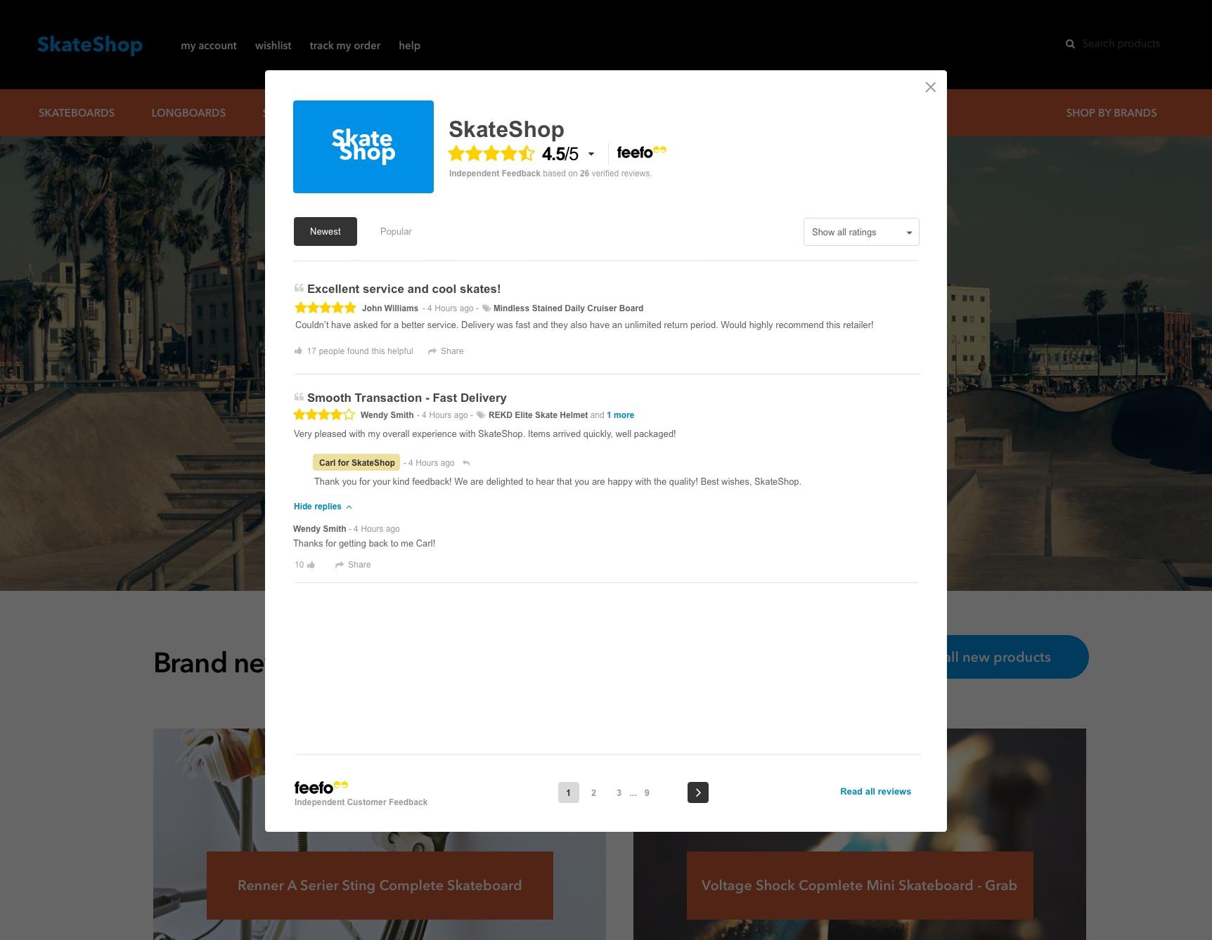 Pop-up Reviews (Medium Integration) | Feefo Support Portal