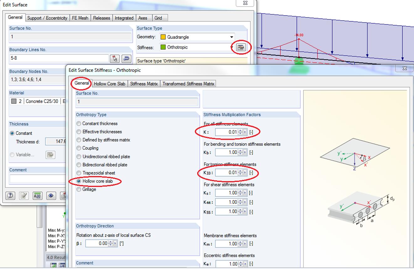 Moment reduceren liggers liggerframe kanaalplaat RFEM rekensoftware