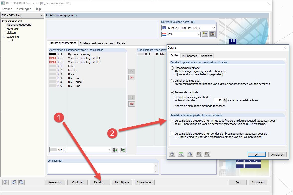 RF-CONCRETE resultaten berekenen met of zonder resultaten met toepassing op gemiddelde gebieden in rekensoftware RFEM