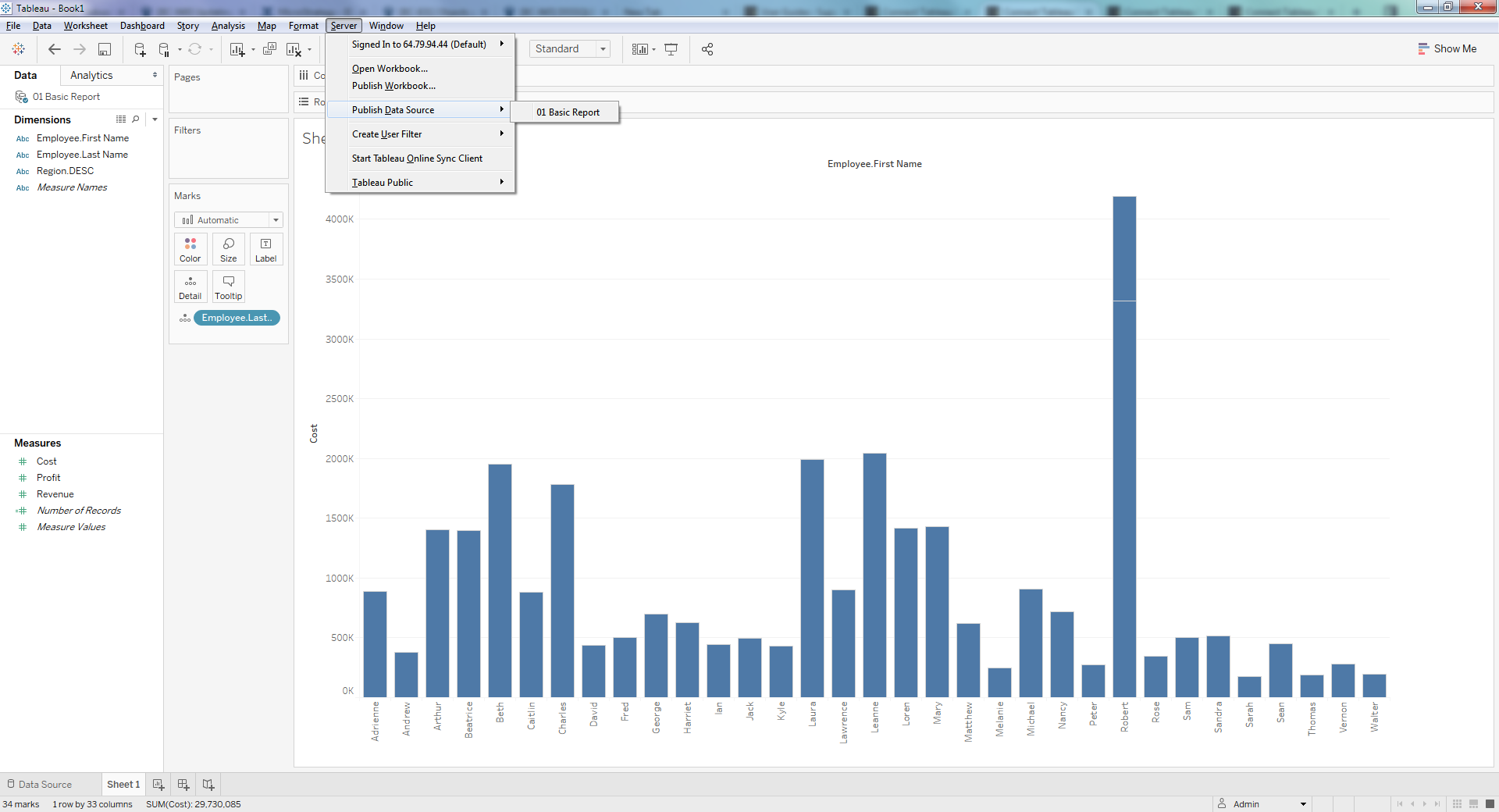 Connect Tableau Server to MicroStrategy Reports - BI