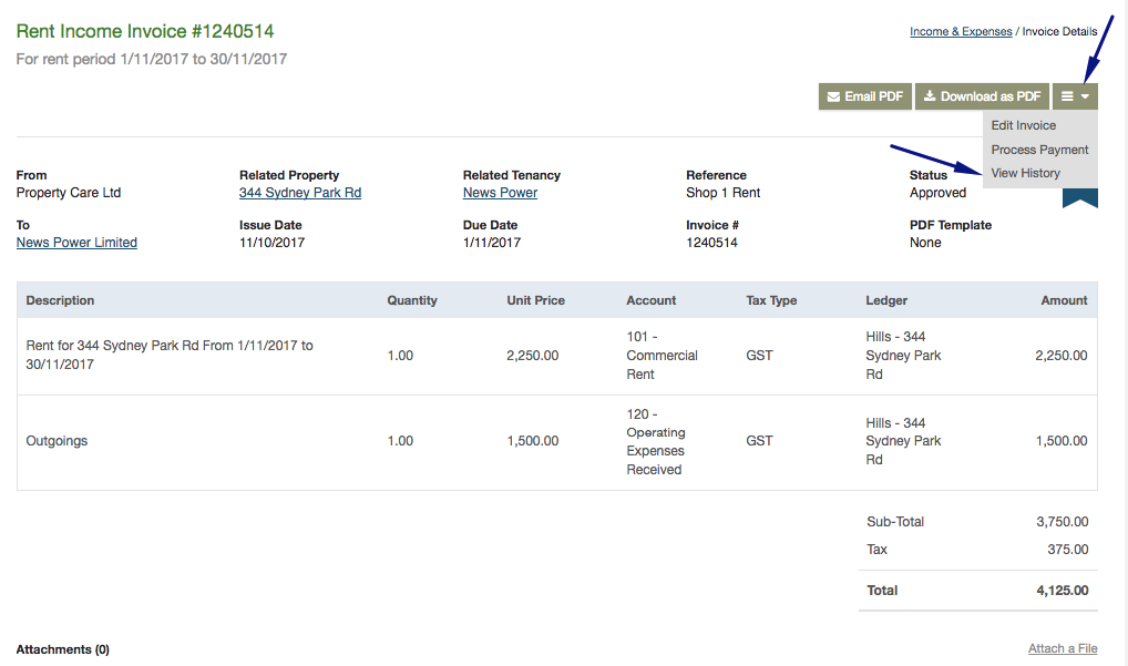 viewing invoice history re leased software