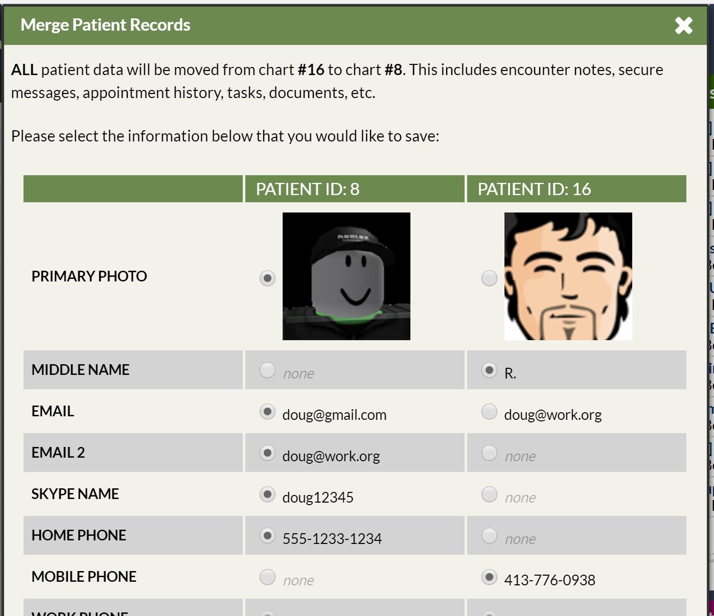 Merge Duplicate Patient Charts : Online Help