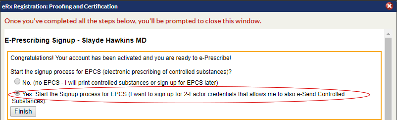 ERx Identity Proofing and EPCS Set Up : Online Help