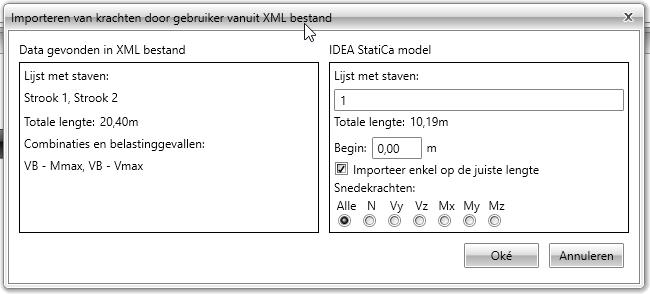 Krachten importeren via XML bestand