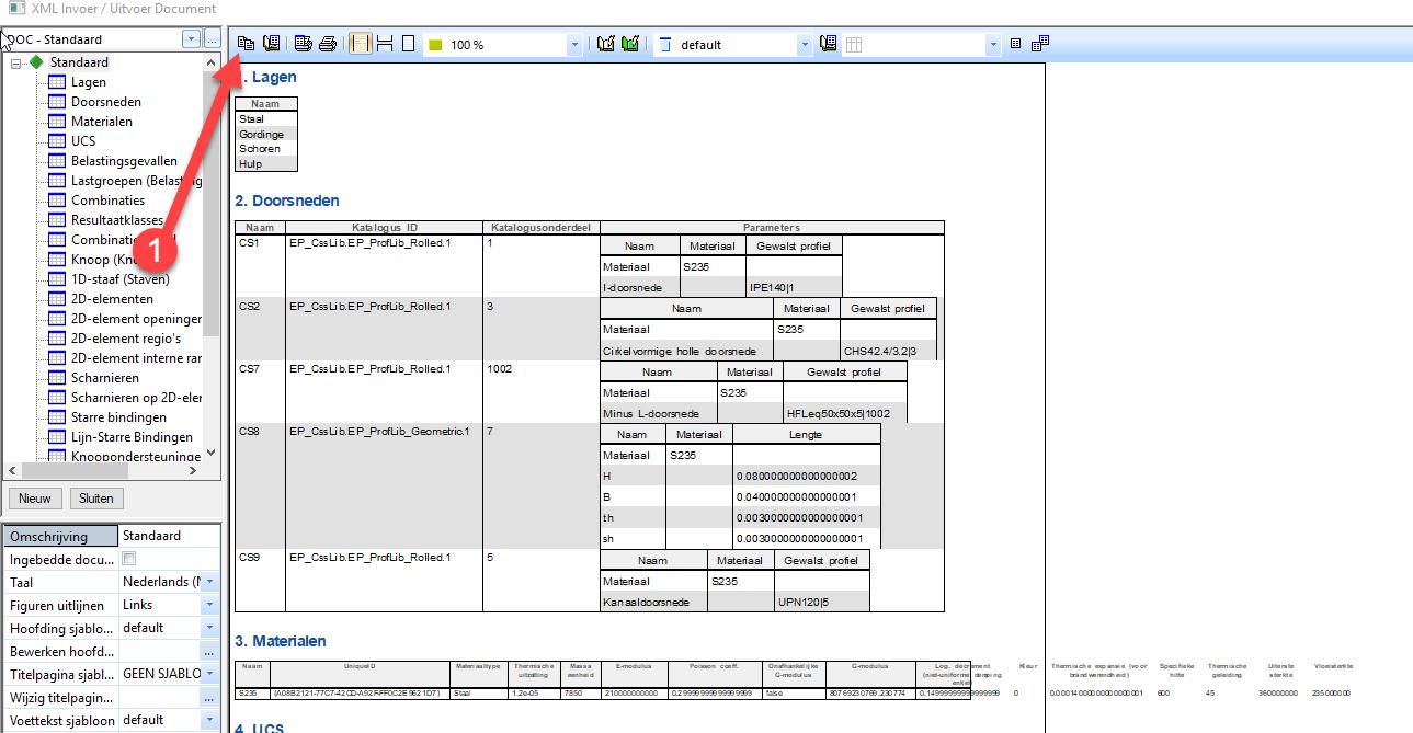 XML export omgeving om te exporteren van Scia naar RFEM
