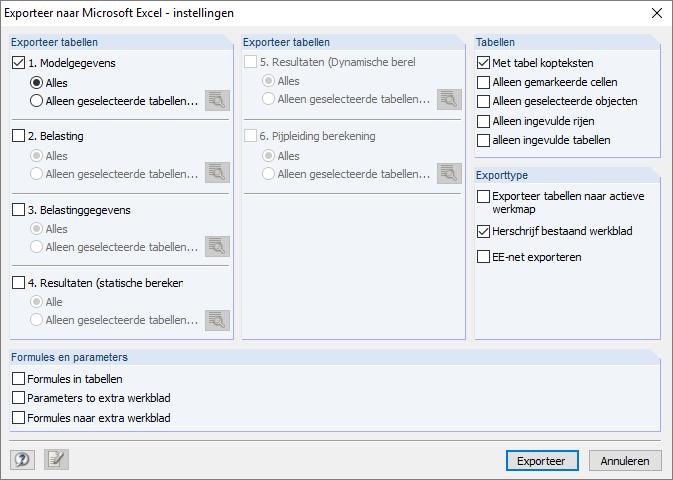 Dialoogvenster exporteer gegevens vanuit RFEM microsoft excel