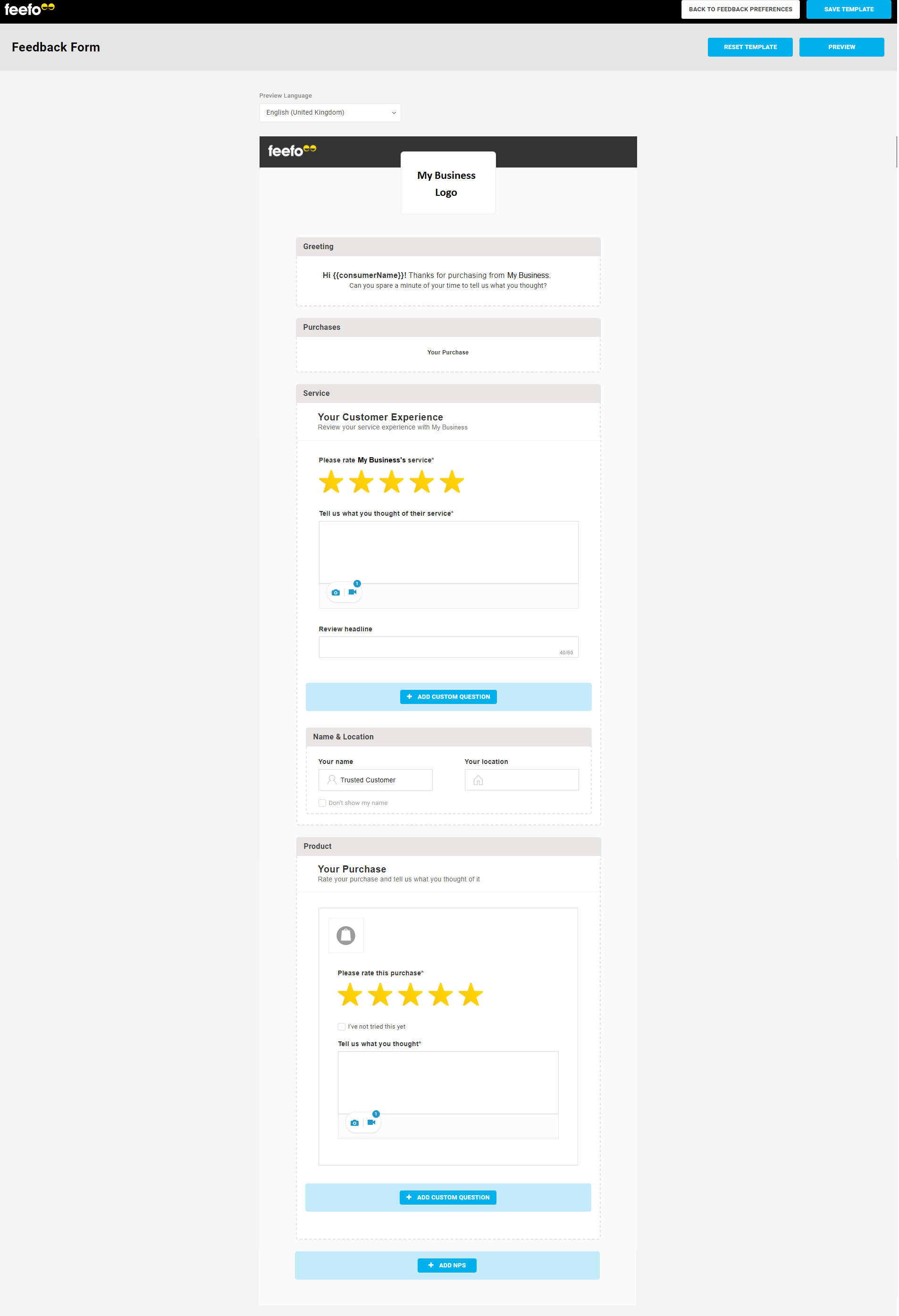 Customise Form | Feefo Support Portal