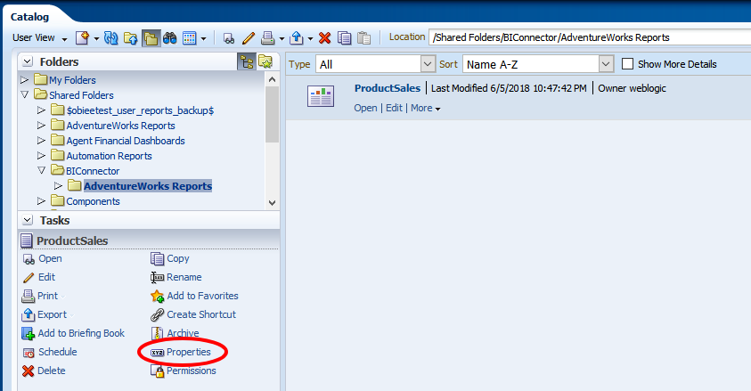 How do I copy the path of report or folder from OBIEE