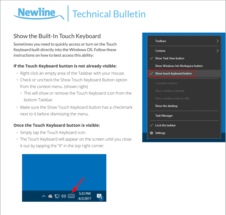 How to Enable Touch Keyboard on Windows 10 : Newline Interactive