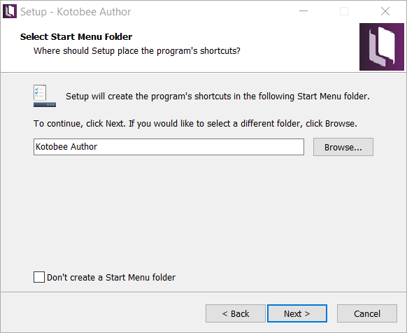 Start menu folder screen