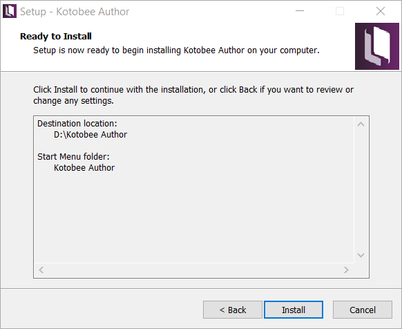 Install details screen