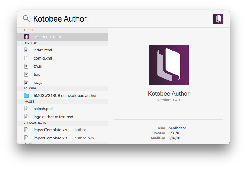 Access Kotobee Author form the Mac search bar