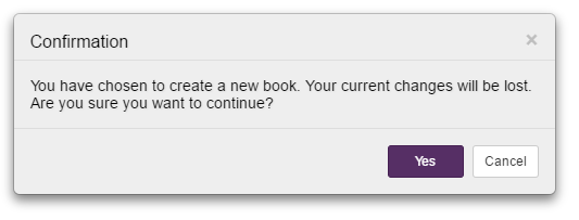 New book confirmation
