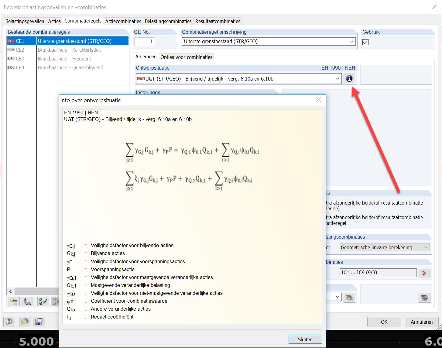 formule bij ontwerpsituatie bij combinatieregels in RFEM rekensoftware