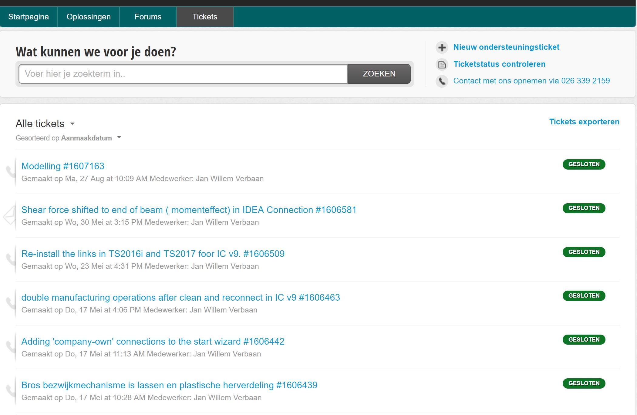 Inloggen historie tickets bekijken ingediend support portal Msc Engineering