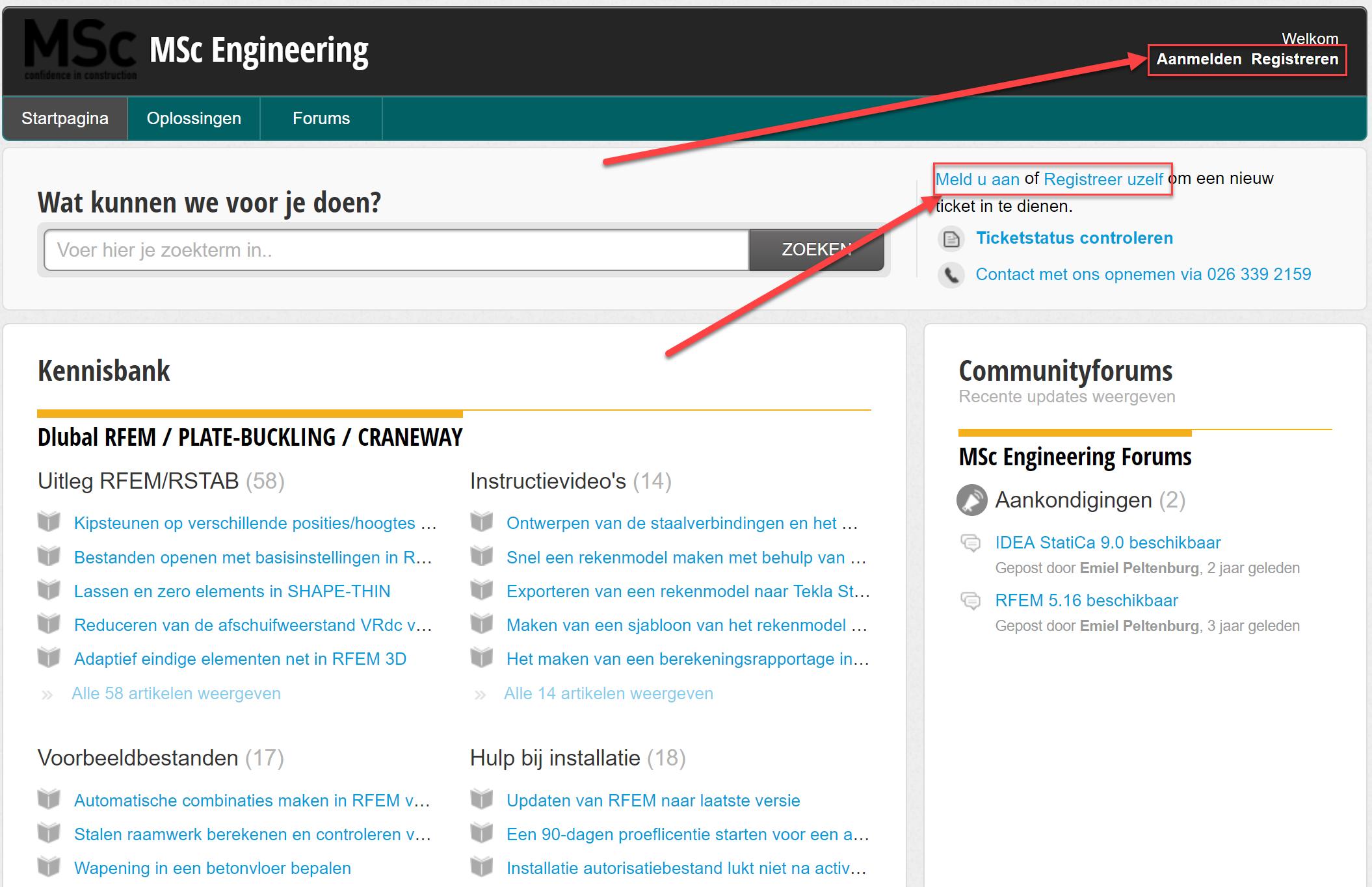 Aanmelden op de support portal van Msc Engineering