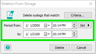 Delete all collected syslog messages for a source : EZ5 Systems