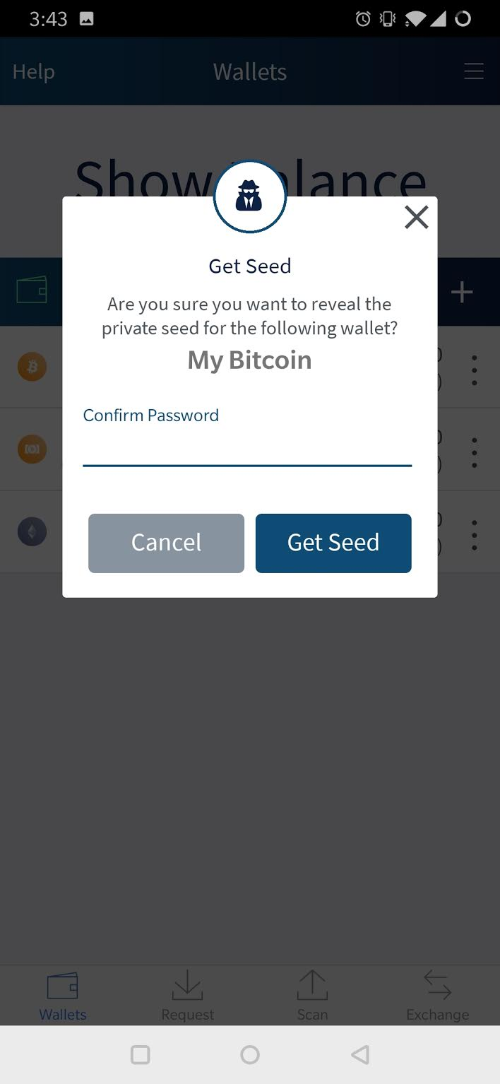 How do I view the Private Seed of my Bitcoin Wallet or for