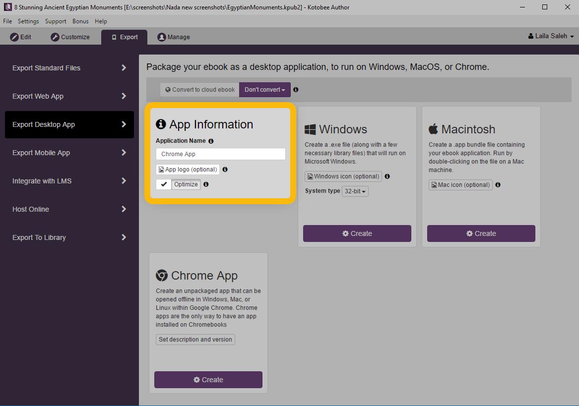 Export Chrome Apps : Kotobee