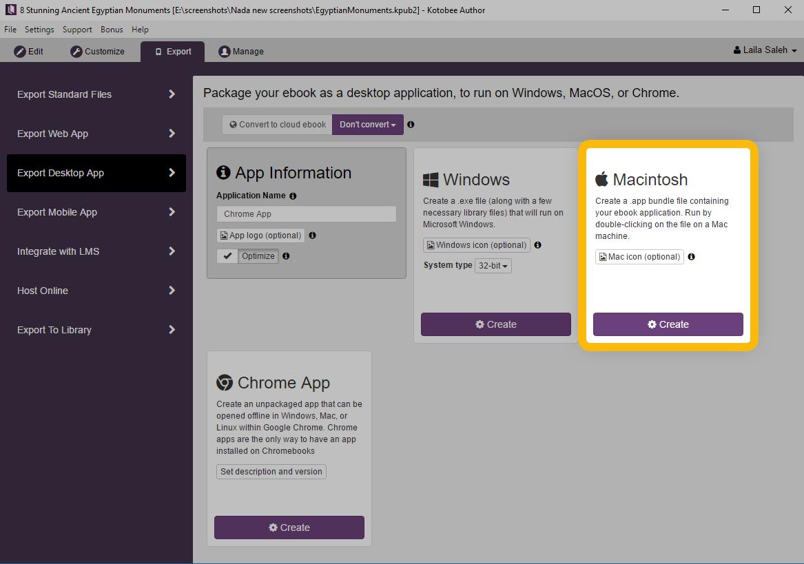 Export Mac Desktop Apps Kotobee