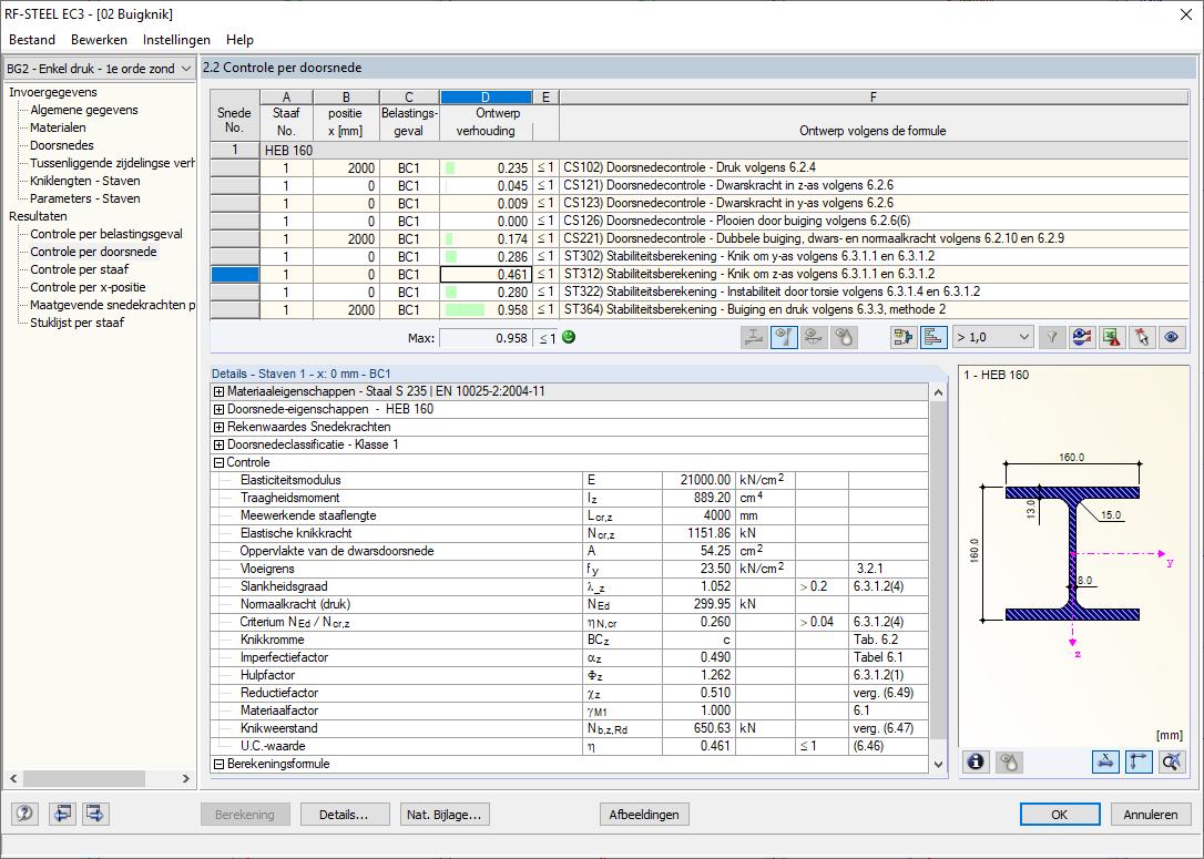 Berekening van de knikweerstand voor de z-as volgens de Eurocode 3 in RFEM