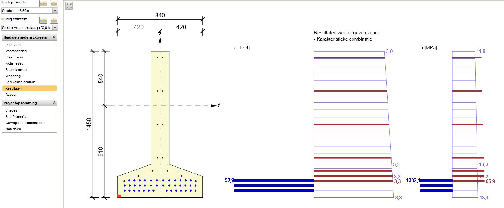 Spanningbeoerking volgens de Eurocode 2 voor een prefabligger