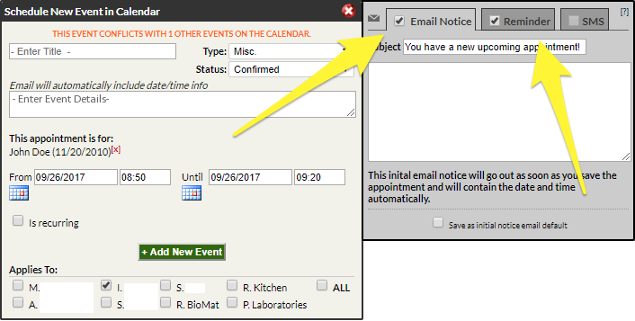 Adding and Editing Default Appointment Notification and