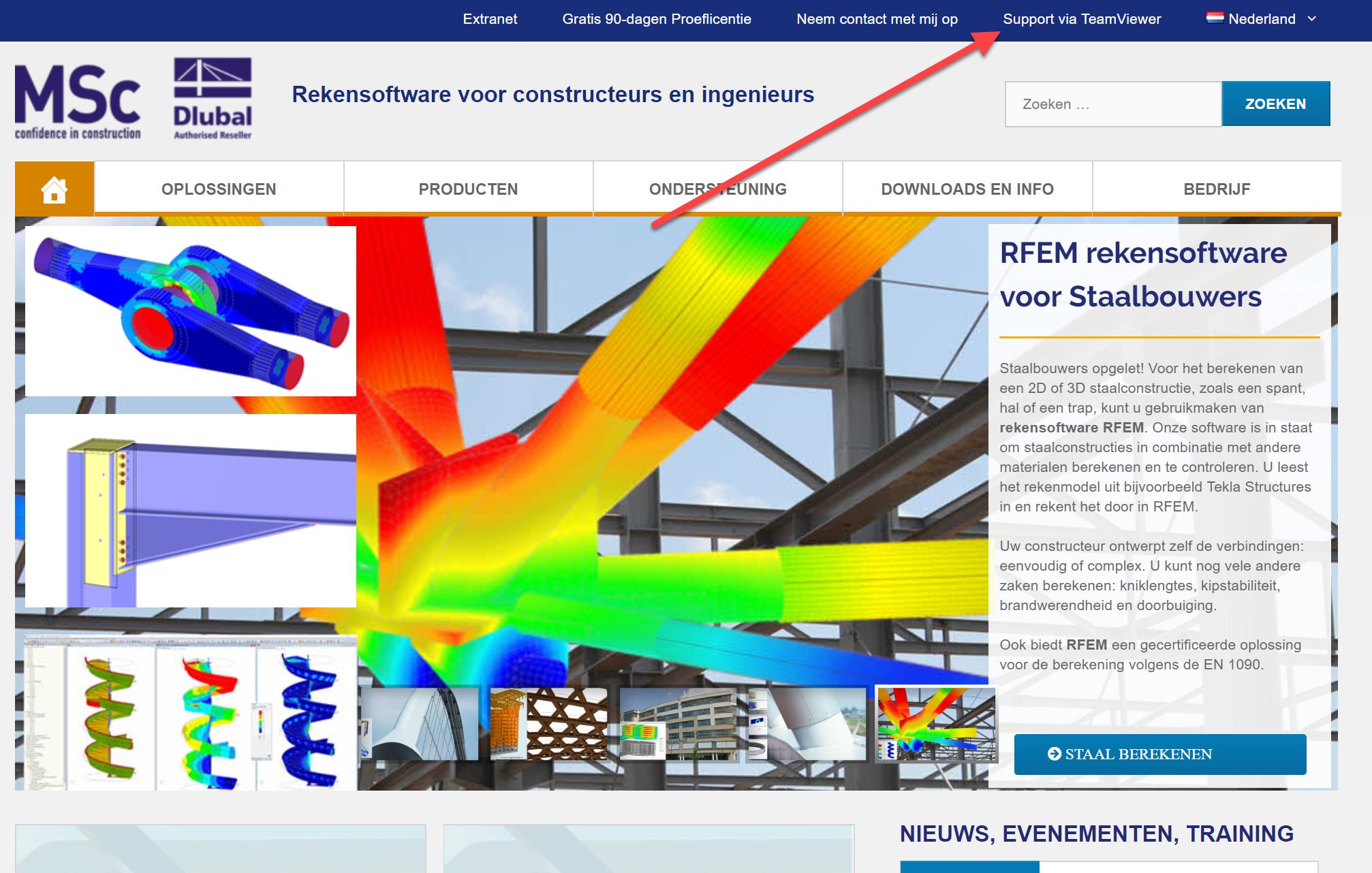 Support op afstand RFEM rekensoftware