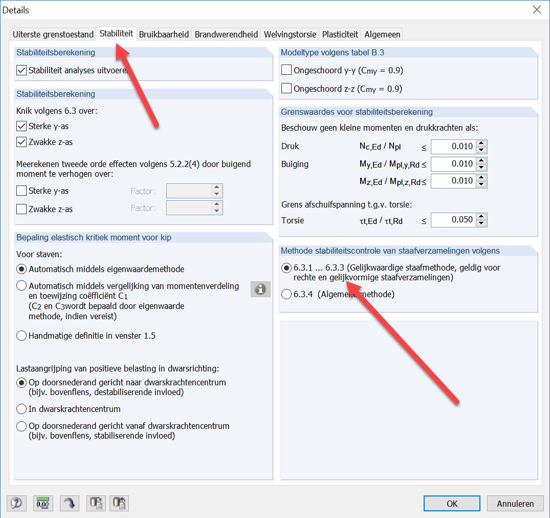 Stabiliteitscontrole volgens 6.3.1 tot 6.3.3 in RFEM rekensoftware