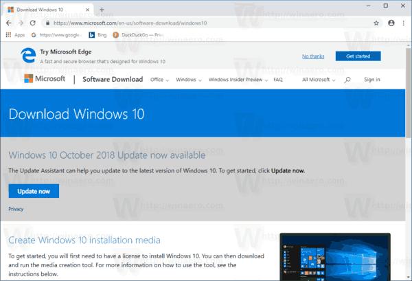 Windows 10 Default Download Page