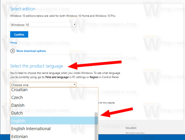 Download ISO Version 1809 Language Step