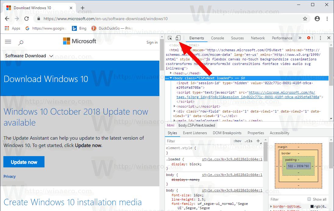 Windows 10 Download Page Chrome Developer Tools