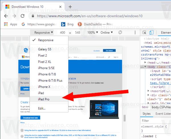 Windows 10 Chrome Developer Tools Change Device