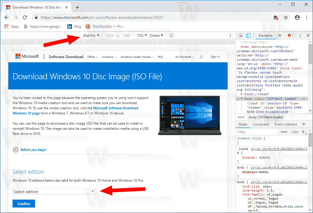 Windows 10 Download ISO Image Directly