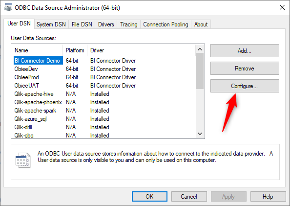 Select-the-DSN-and-click-configure