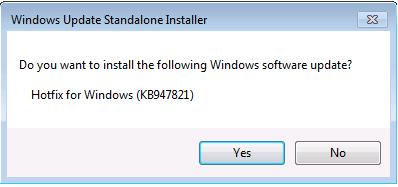 Windows Update Standalone Installer dialog box