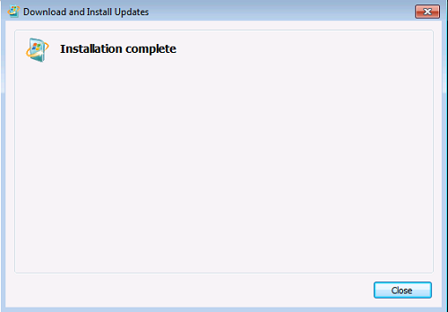 Download and install Updates - Installation complete