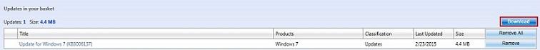Microsoft Update Catalog - your basket