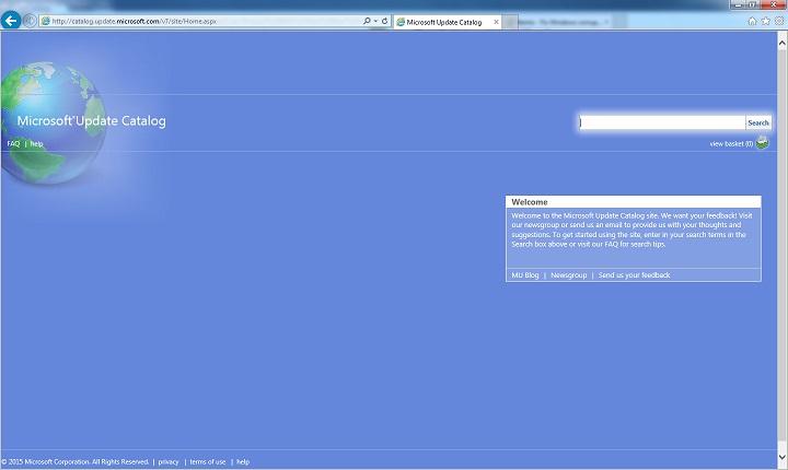Microsoft Update Catalog in Internet Explorer