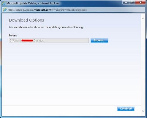 Microsoft Update Catalog - Download Options