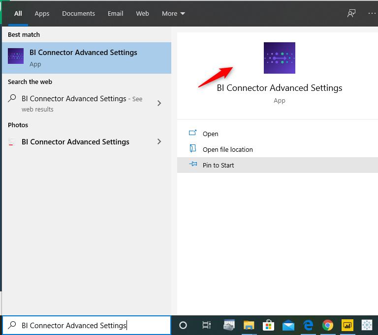 BI Connector Advanced Settings App