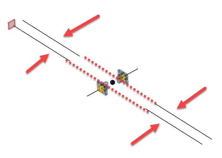 Draadmodelweergave van verkeerd gemodelleerd dubbele staaf