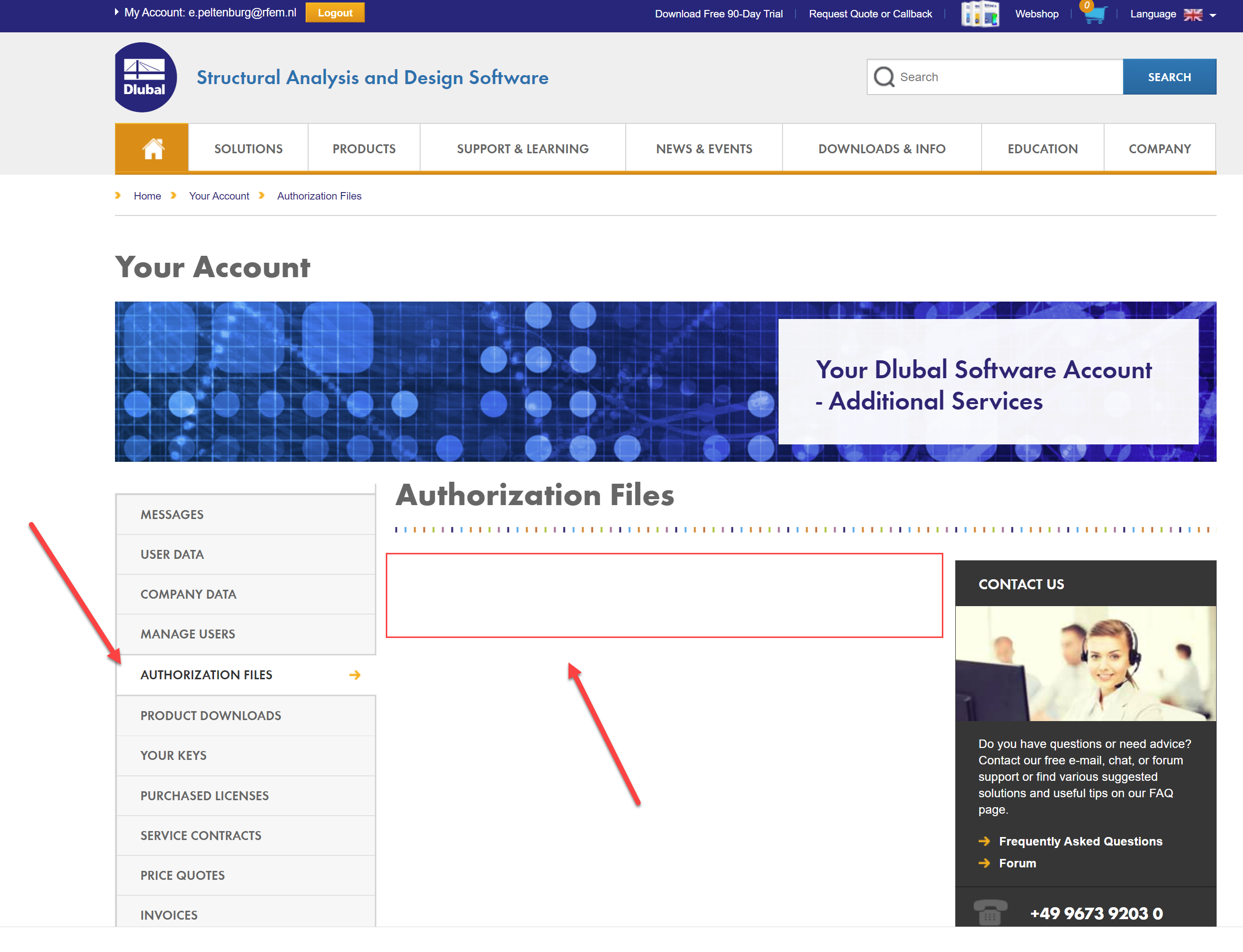 autorisatiebestand RFEM via extranet account
