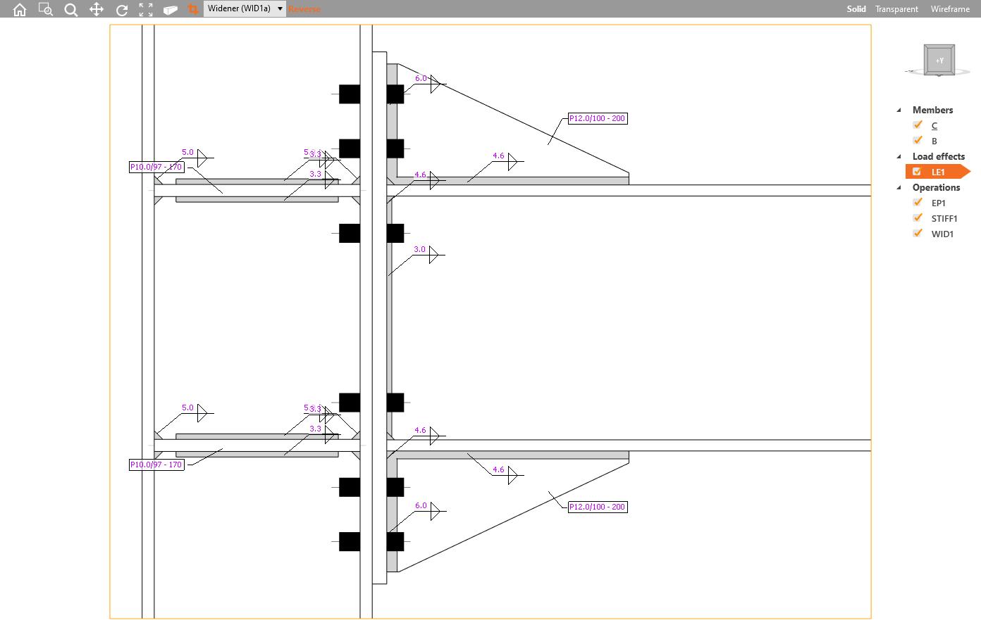 Section model view in het 3D hoofdscherm IDEA CONNECTION versie 20