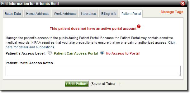 Patient Portal Access Popup